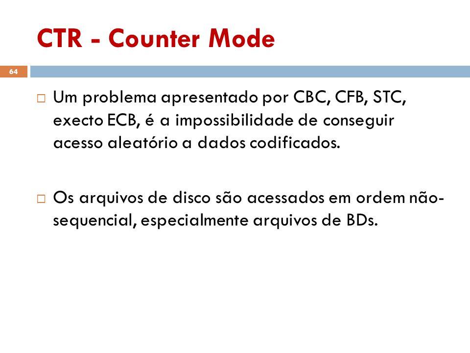 CTR - Counter Mode 64 Um problema apresentado por CBC, CFB, STC, execto ECB, é a impossibilidade de conseguir acesso aleatório a dados codificados.