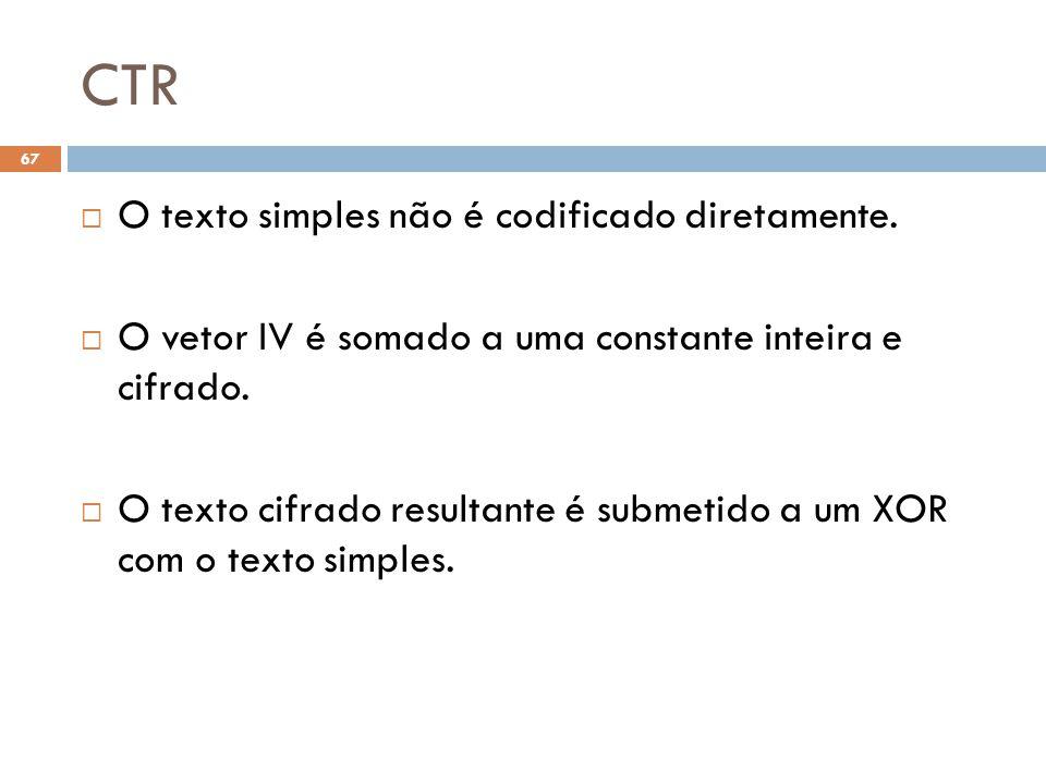 CTR 67 O texto simples não é codificado diretamente.