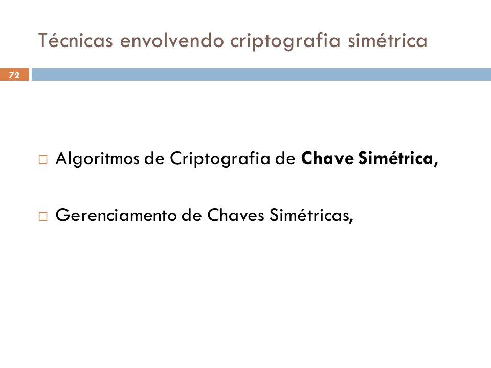 Técnicas envolvendo criptografia simétrica 72 Algoritmos de Criptografia de Chave Simétrica, Gerenciamento de Chaves Simétricas,