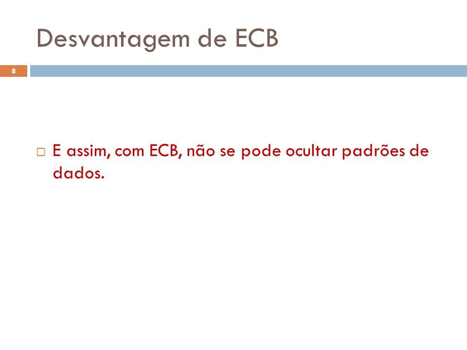 Desvantagem de ECB 8 E assim, com ECB, não se pode ocultar padrões de dados.
