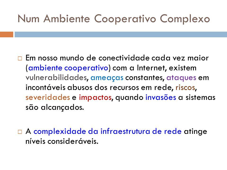 Num Ambiente Cooperativo Complexo Em nosso mundo de conectividade cada vez maior (ambiente cooperativo) com a Internet, existem vulnerabilidades, amea