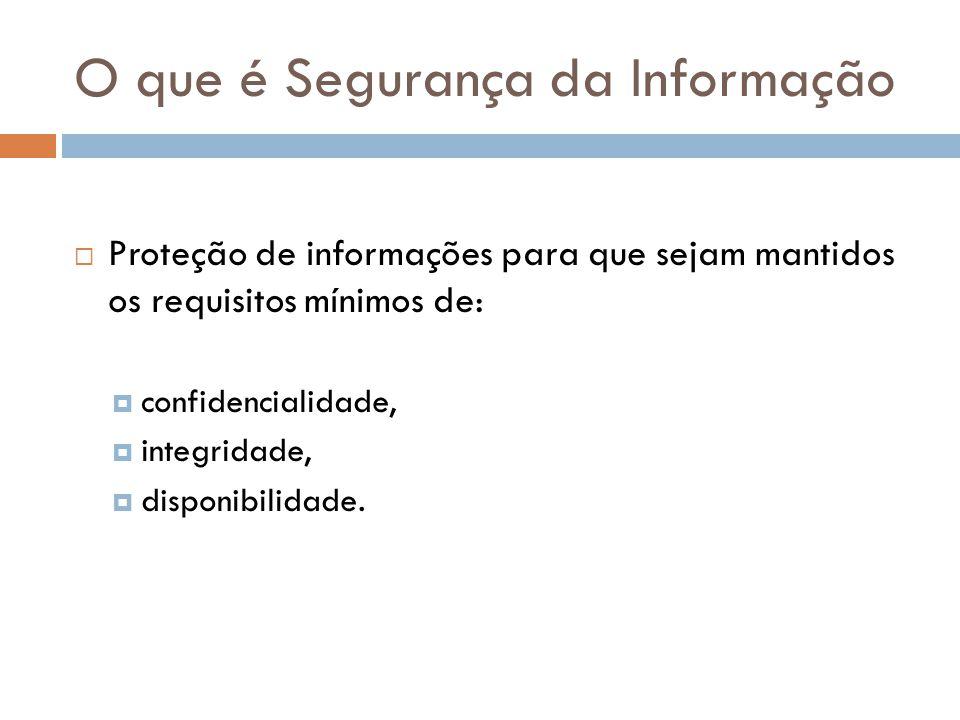 O que é Segurança da Informação Proteção de informações para que sejam mantidos os requisitos mínimos de: confidencialidade, integridade, disponibilid