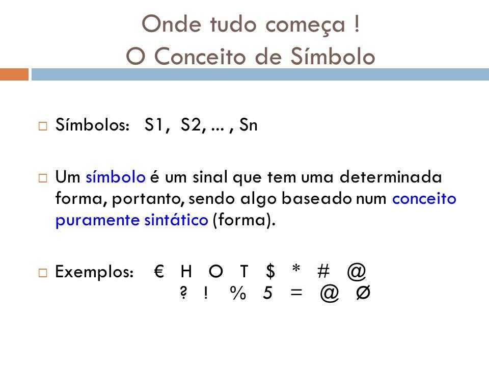 Onde tudo começa ! O Conceito de Símbolo Símbolos: S1, S2,..., Sn Um símbolo é um sinal que tem uma determinada forma, portanto, sendo algo baseado nu