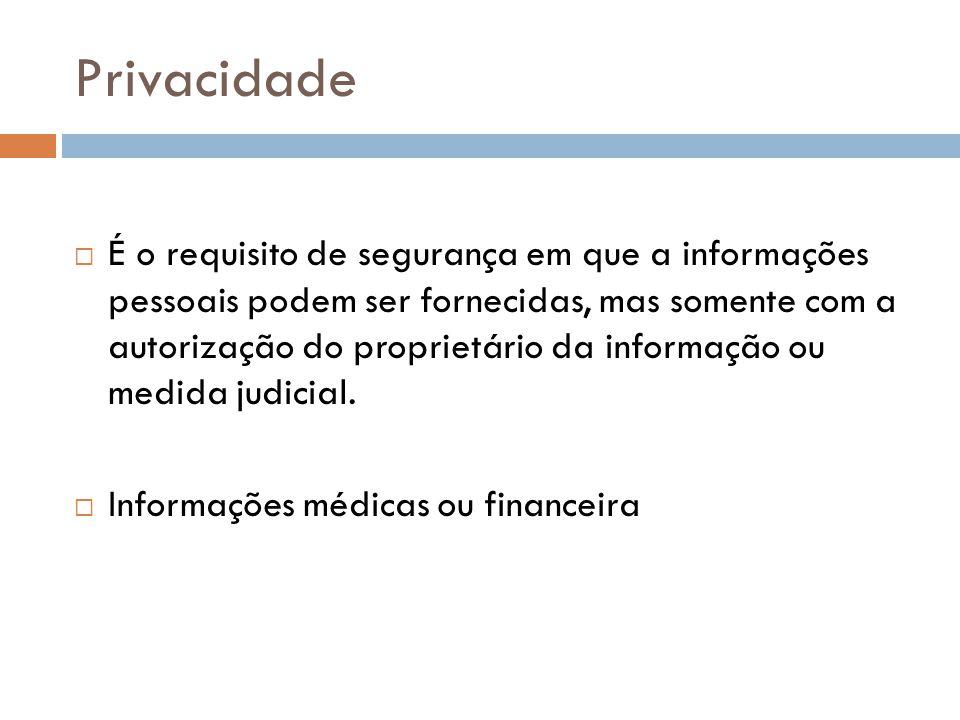 Privacidade É o requisito de segurança em que a informações pessoais podem ser fornecidas, mas somente com a autorização do proprietário da informação