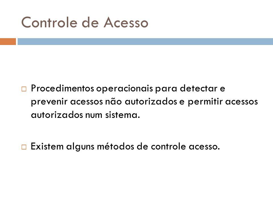 Controle de Acesso Procedimentos operacionais para detectar e prevenir acessos não autorizados e permitir acessos autorizados num sistema. Existem alg