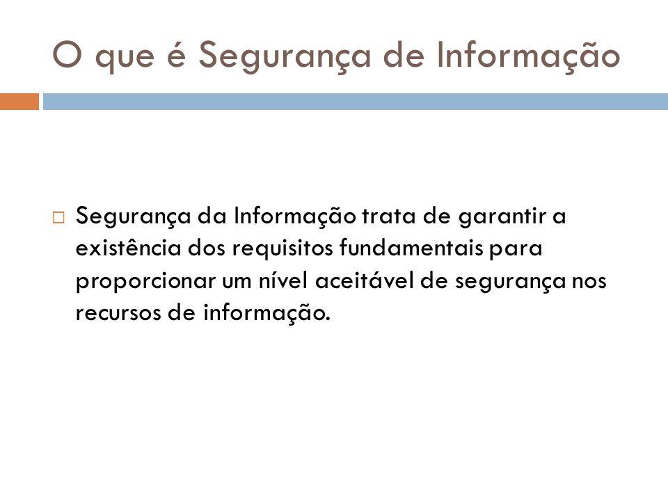 O que é Segurança de Informação Segurança da Informação trata de garantir a existência dos requisitos fundamentais para proporcionar um nível aceitáve