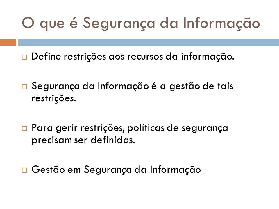 O que é Segurança da Informação Define restrições aos recursos da informação. Segurança da Informação é a gestão de tais restrições. Para gerir restri