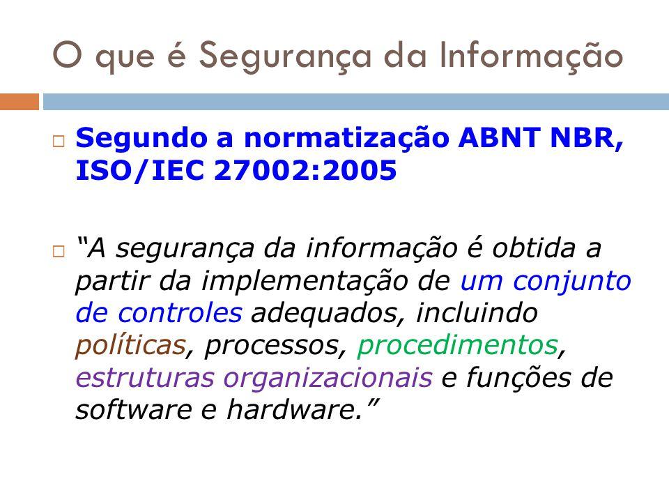 O que é Segurança da Informação Segundo a normatização ABNT NBR, ISO/IEC 27002:2005 A segurança da informação é obtida a partir da implementação de um