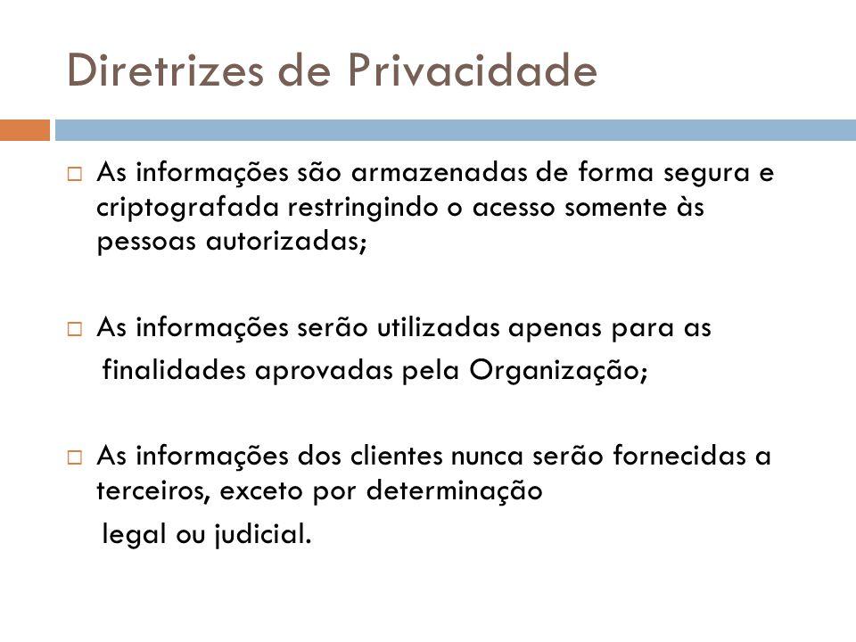 Diretrizes de Privacidade As informações são armazenadas de forma segura e criptografada restringindo o acesso somente às pessoas autorizadas; As info
