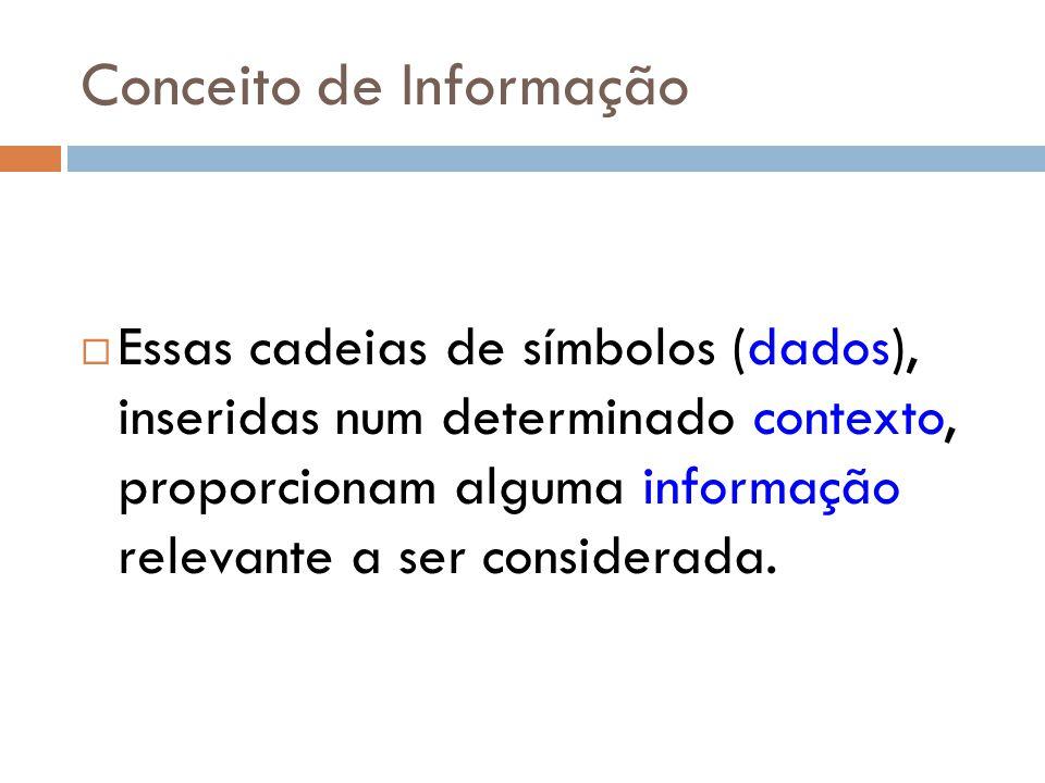 Conceito de Informação Essas cadeias de símbolos (dados), inseridas num determinado contexto, proporcionam alguma informação relevante a ser considera