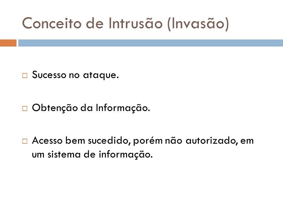 Conceito de Intrusão (Invasão) Sucesso no ataque. Obtenção da Informação. Acesso bem sucedido, porém não autorizado, em um sistema de informação.
