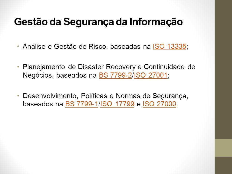 Gestão da Segurança da Informação Análise e Gestão de Risco, baseadas na ISO 13335;ISO 13335 Planejamento de Disaster Recovery e Continuidade de Negóc