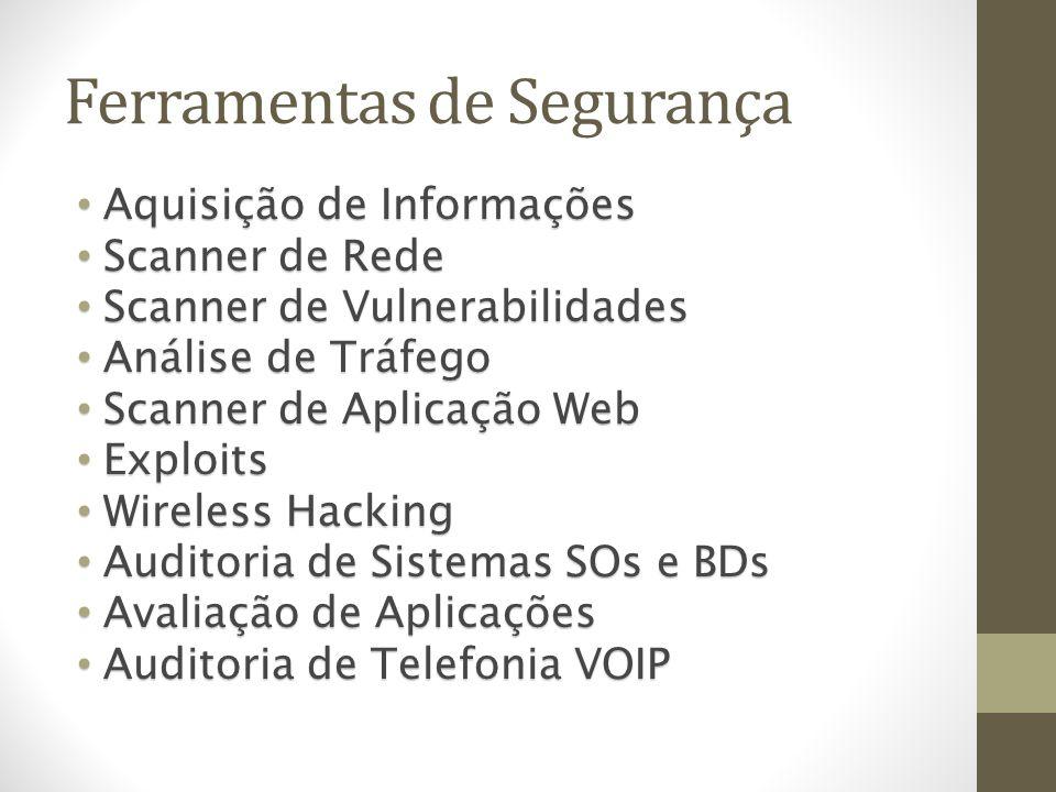 Ferramentas de Segurança Aquisição de Informações Aquisição de Informações Scanner de Rede Scanner de Rede Scanner de Vulnerabilidades Scanner de Vuln