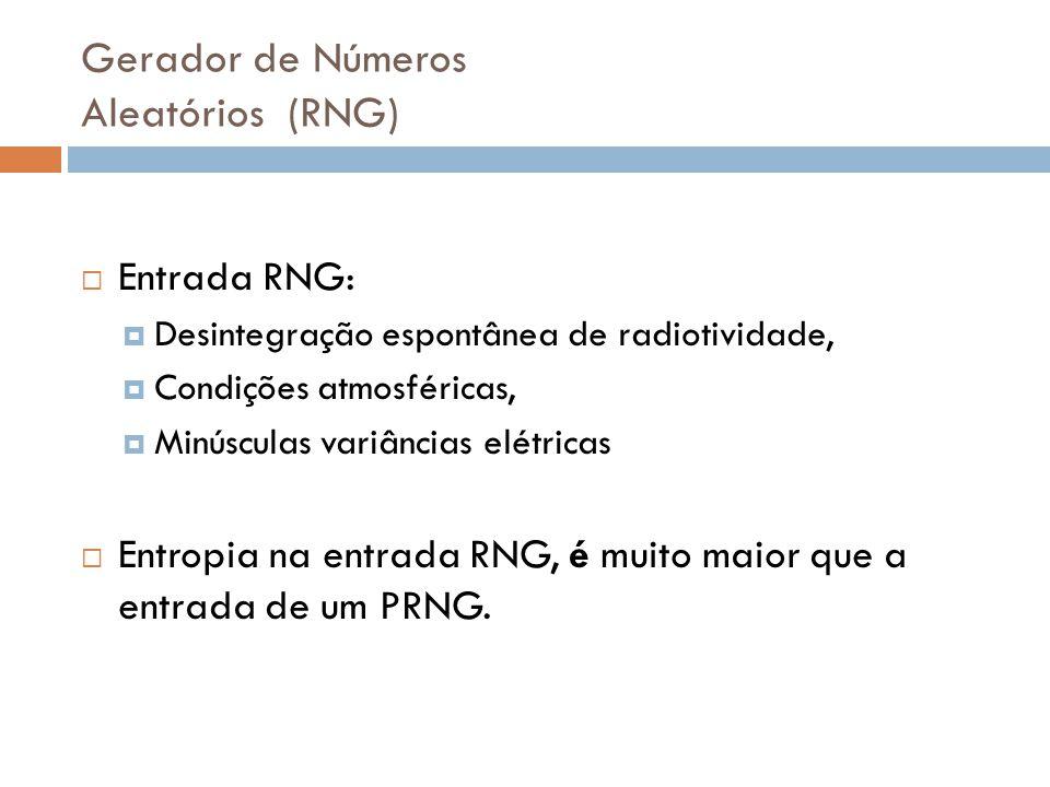 Gerador de Números Aleatórios (RNG) Entrada RNG: Desintegração espontânea de radiotividade, Condições atmosféricas, Minúsculas variâncias elétricas En