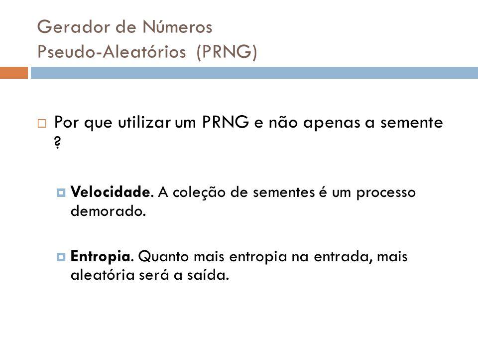 Gerador de Números Pseudo-Aleatórios (PRNG) Por que utilizar um PRNG e não apenas a semente ? Velocidade. A coleção de sementes é um processo demorado