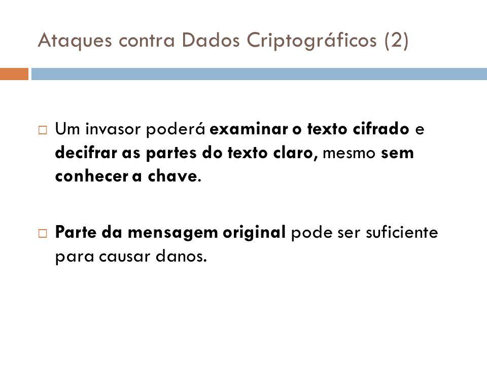 Ataques contra Dados Criptográficos (2) Um invasor poderá examinar o texto cifrado e decifrar as partes do texto claro, mesmo sem conhecer a chave. Pa