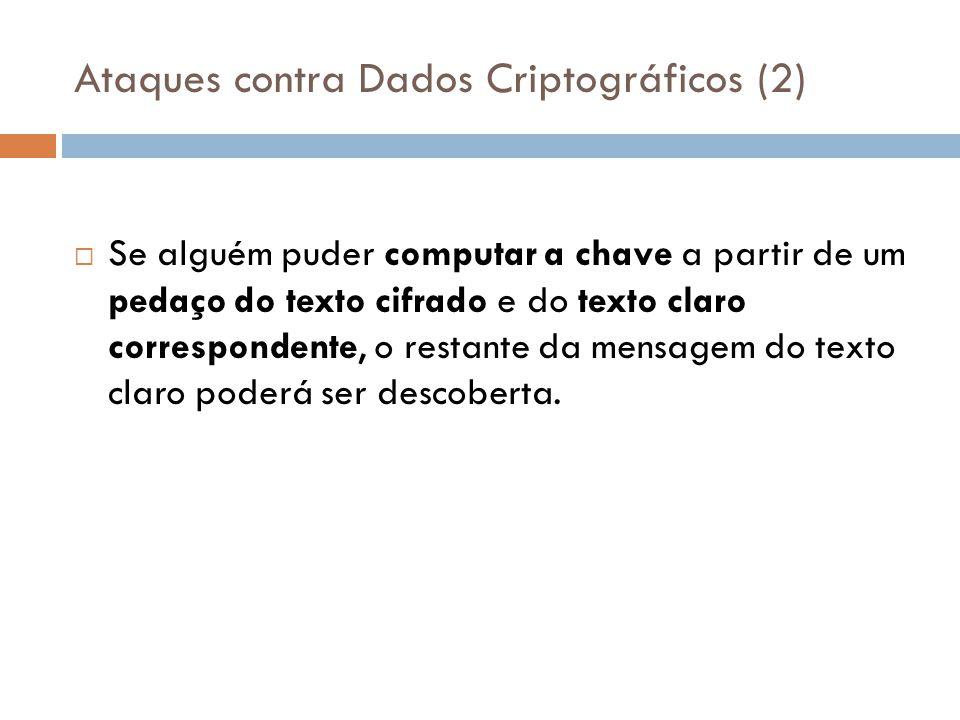 Ataques contra Dados Criptográficos (2) Se alguém puder computar a chave a partir de um pedaço do texto cifrado e do texto claro correspondente, o res