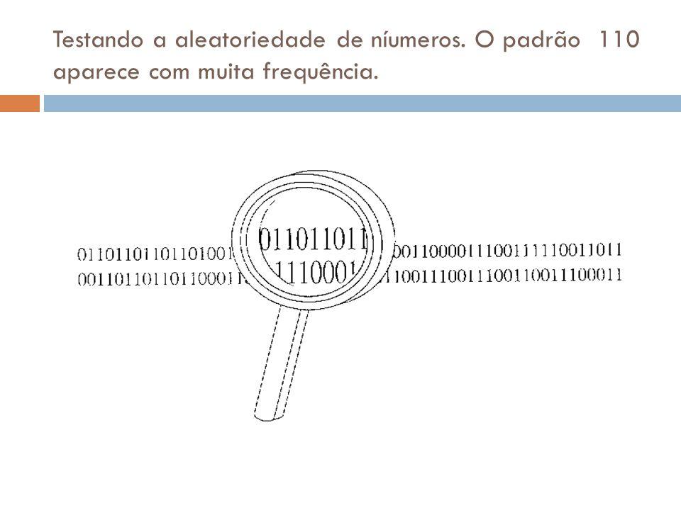 Testando a aleatoriedade de níumeros. O padrão 110 aparece com muita frequência.