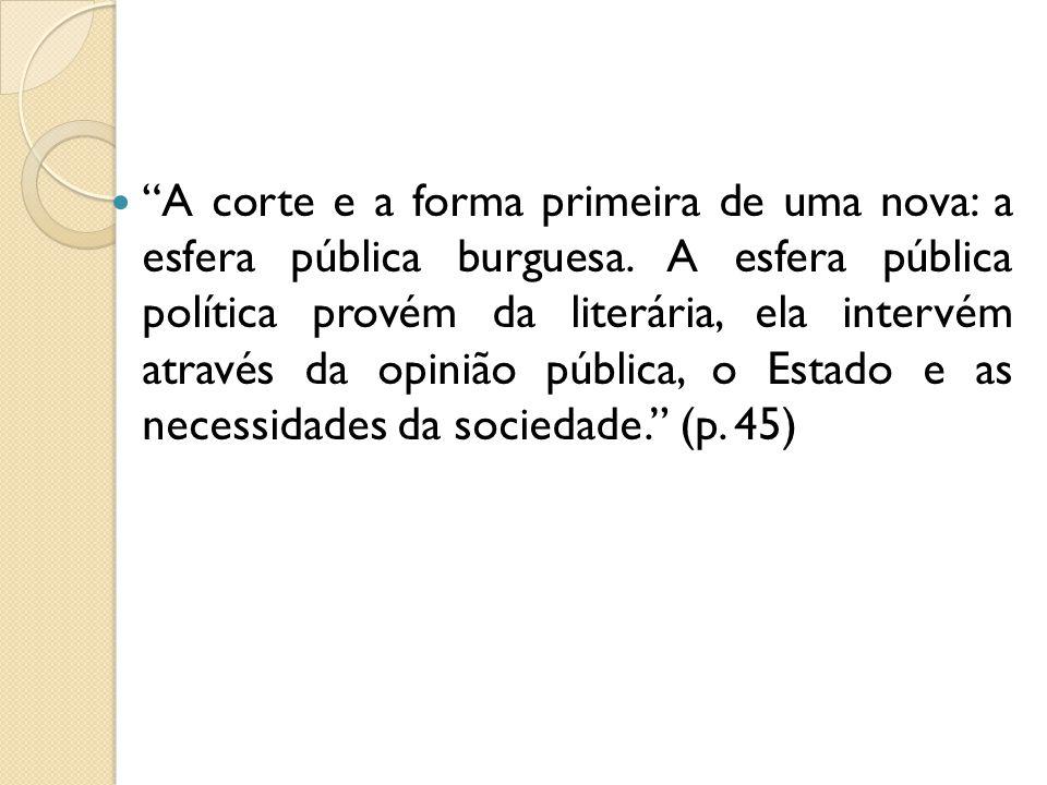 A corte e a forma primeira de uma nova: a esfera pública burguesa. A esfera pública política provém da literária, ela intervém através da opinião públ