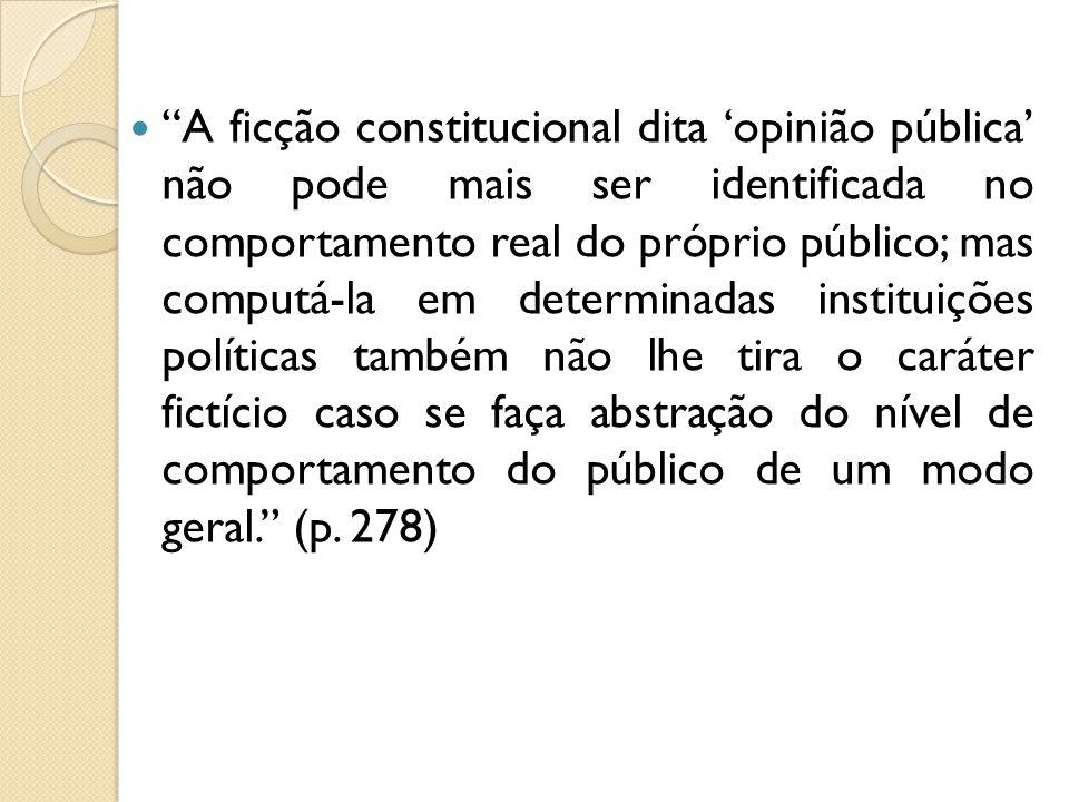 A ficção constitucional dita opinião pública não pode mais ser identificada no comportamento real do próprio público; mas computá-la em determinadas i