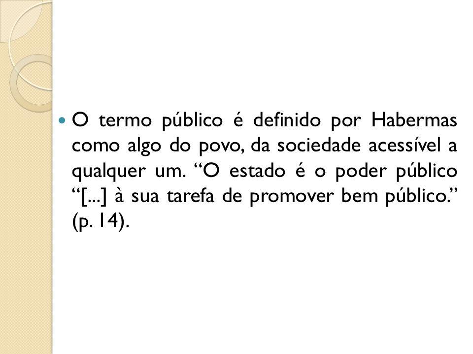 O termo público é definido por Habermas como algo do povo, da sociedade acessível a qualquer um. O estado é o poder público [...] à sua tarefa de prom