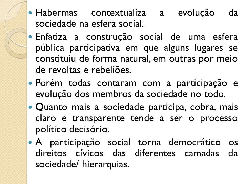 Habermas contextualiza a evolução da sociedade na esfera social. Enfatiza a construção social de uma esfera pública participativa em que alguns lugare