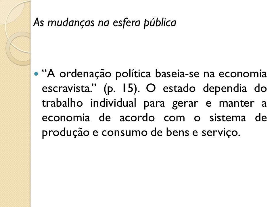 As mudanças na esfera pública A ordenação política baseia-se na economia escravista. (p. 15). O estado dependia do trabalho individual para gerar e ma