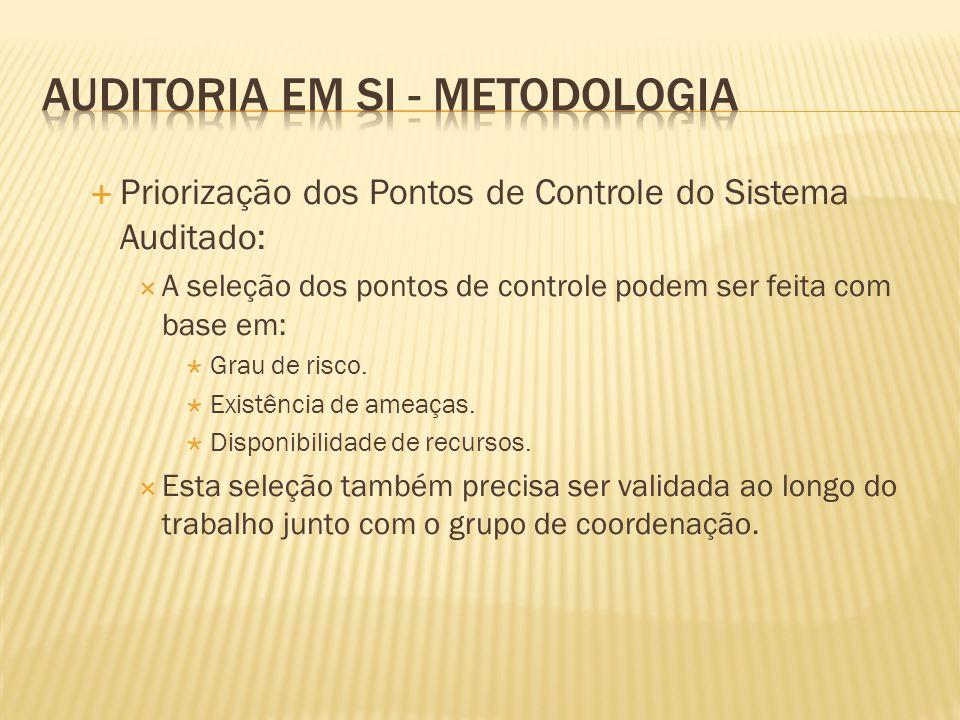 Priorização dos Pontos de Controle do Sistema Auditado: A seleção dos pontos de controle podem ser feita com base em: Grau de risco. Existência de ame