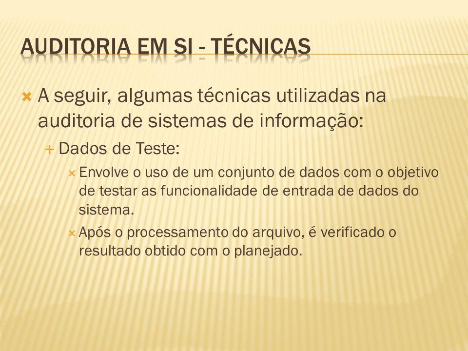 A seguir, algumas técnicas utilizadas na auditoria de sistemas de informação: Dados de Teste: Envolve o uso de um conjunto de dados com o objetivo de