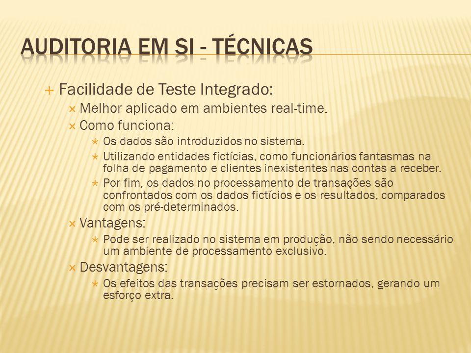 Facilidade de Teste Integrado: Melhor aplicado em ambientes real-time. Como funciona: Os dados são introduzidos no sistema. Utilizando entidades fictí