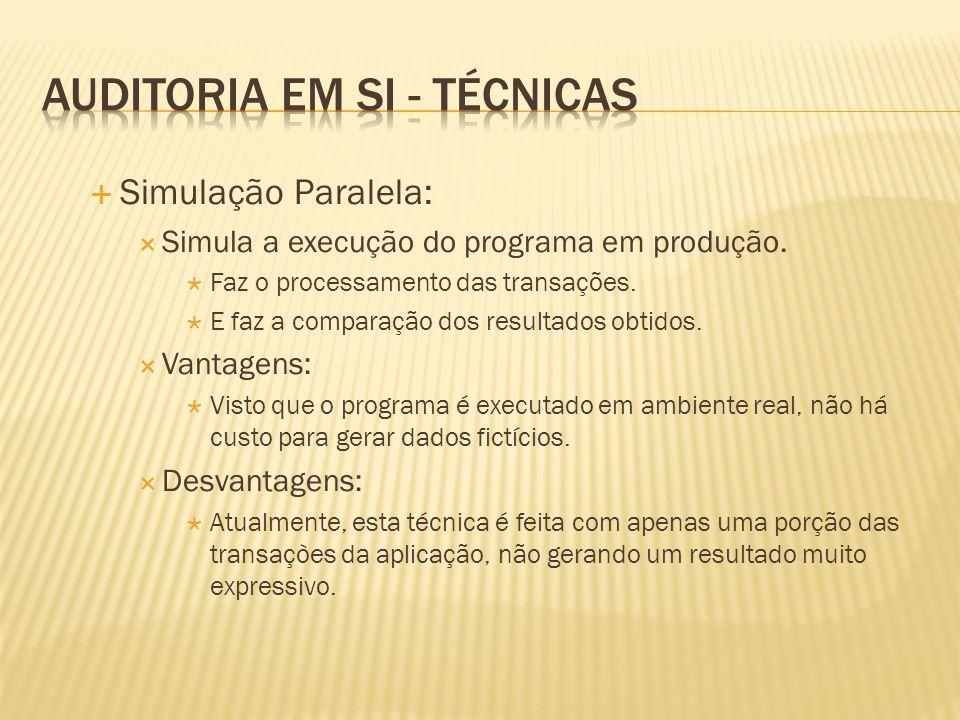 Simulação Paralela: Simula a execução do programa em produção. Faz o processamento das transações. E faz a comparação dos resultados obtidos. Vantagen