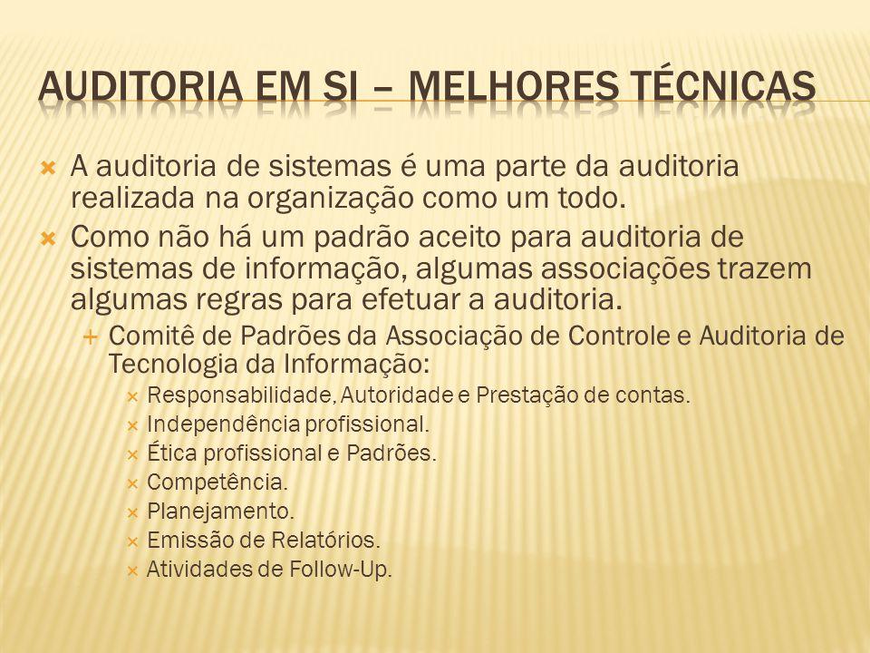 A auditoria de sistemas é uma parte da auditoria realizada na organização como um todo. Como não há um padrão aceito para auditoria de sistemas de inf