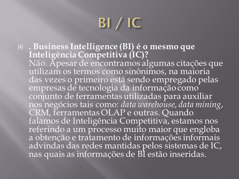 Business Intelligence (BI) é o mesmo que Inteligência Competitiva (IC).