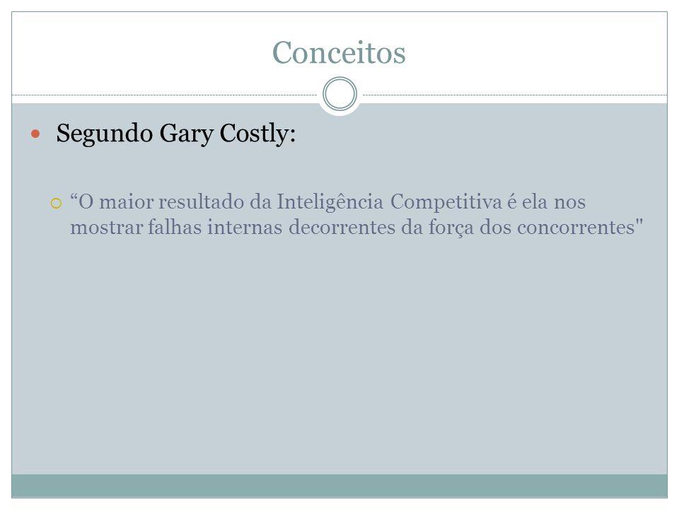Conceitos Segundo Gary Costly: O maior resultado da Inteligência Competitiva é ela nos mostrar falhas internas decorrentes da força dos concorrentes