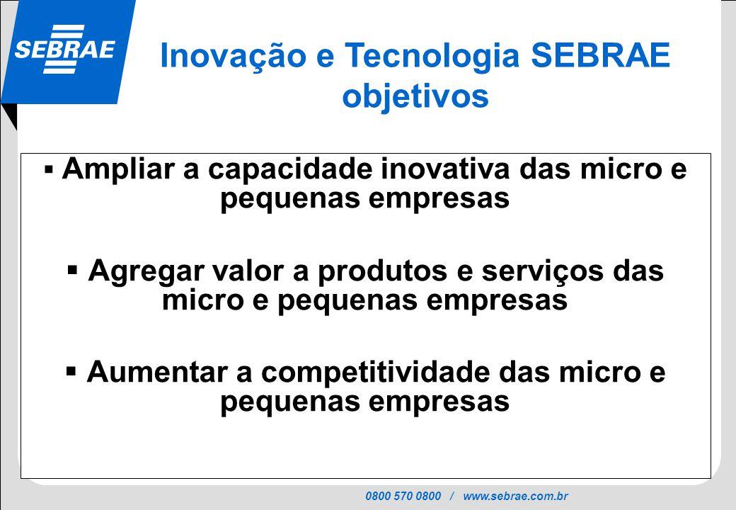 0800 570 0800 / www.sebrae.com.br SEBRAE Ampliar a capacidade inovativa das micro e pequenas empresas Agregar valor a produtos e serviços das micro e