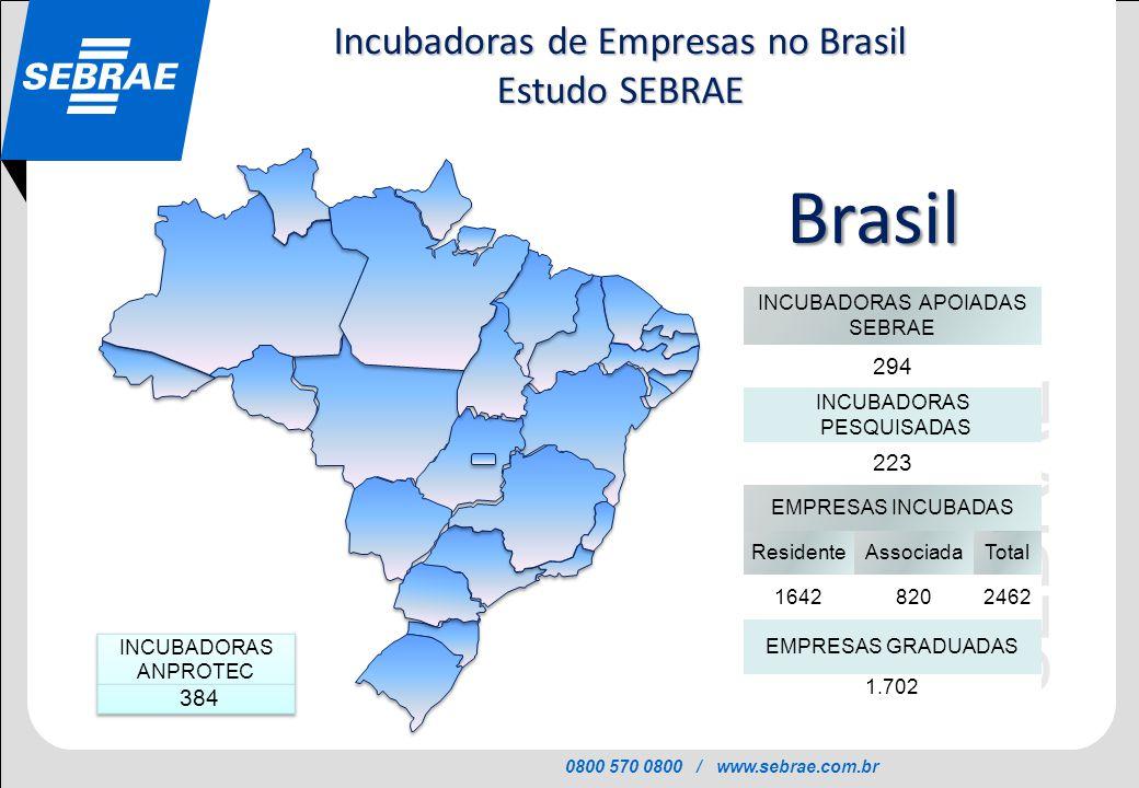0800 570 0800 / www.sebrae.com.br SEBRAE INCUBADORAS APOIADAS SEBRAE 294 INCUBADORAS PESQUISADAS 223 EMPRESAS INCUBADAS ResidenteAssociadaTotal 164282