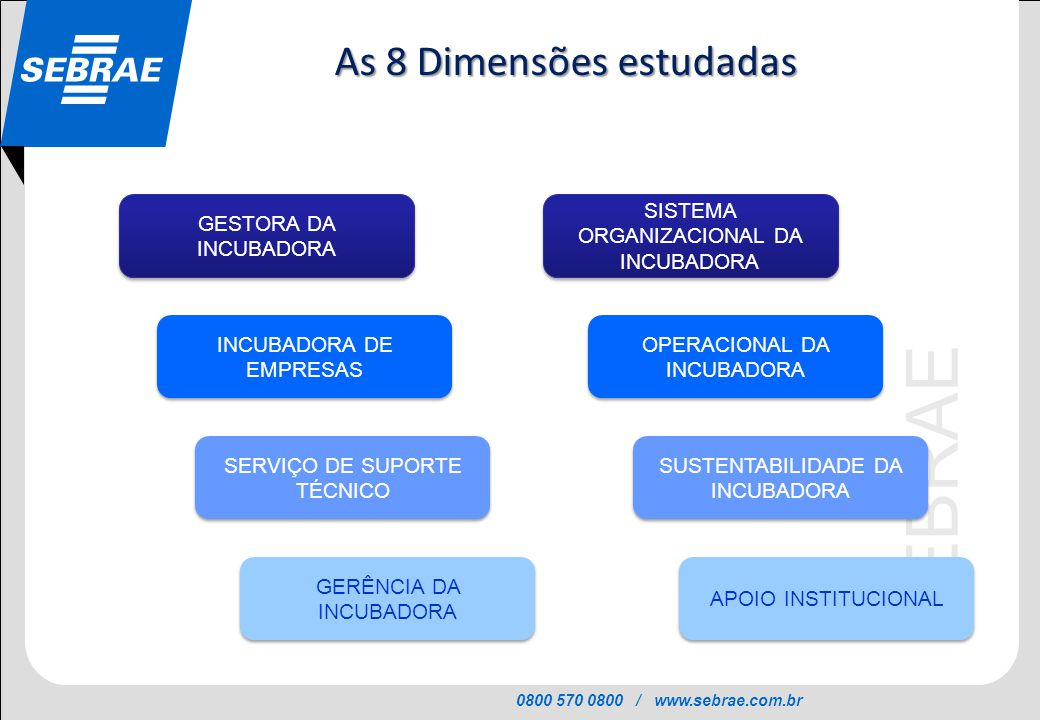 0800 570 0800 / www.sebrae.com.br SEBRAE GESTORA DA INCUBADORA GESTORA DA INCUBADORA INCUBADORA DE EMPRESAS OPERACIONAL DA INCUBADORA SISTEMA ORGANIZA