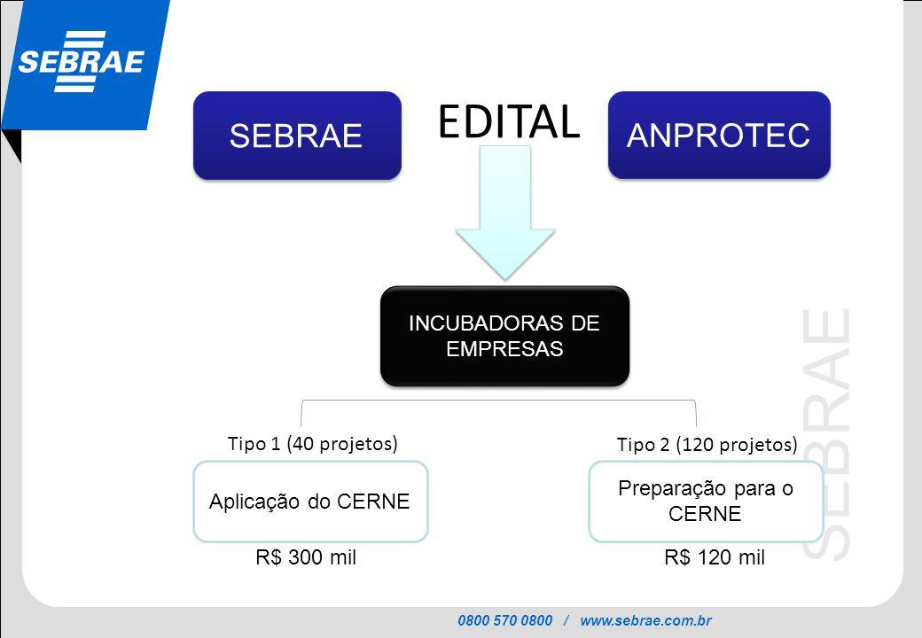 0800 570 0800 / www.sebrae.com.br SEBRAE ANPROTEC EDITAL Aplicação do CERNE Tipo 1 (40 projetos) Tipo 2 (120 projetos) Preparação para o CERNE R$ 300