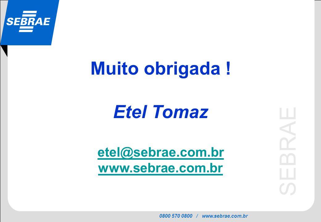 0800 570 0800 / www.sebrae.com.br SEBRAE Muito obrigada ! Etel Tomaz etel@sebrae.com.br www.sebrae.com.br