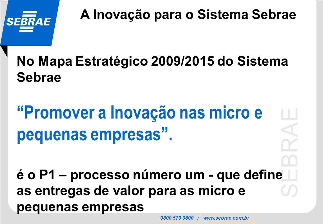 0800 570 0800 / www.sebrae.com.br SEBRAE No Mapa Estratégico 2009/2015 do Sistema Sebrae Promover a Inovação nas micro e pequenas empresas. é o P1 – p