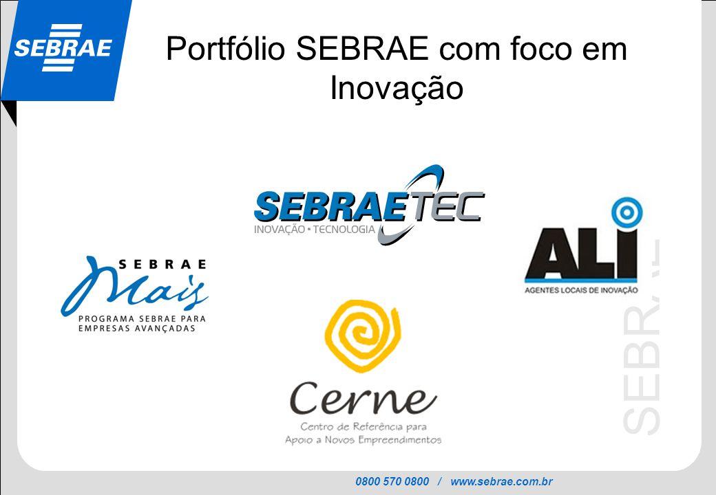 0800 570 0800 / www.sebrae.com.br SEBRAE Portfólio SEBRAE com foco em Inovação