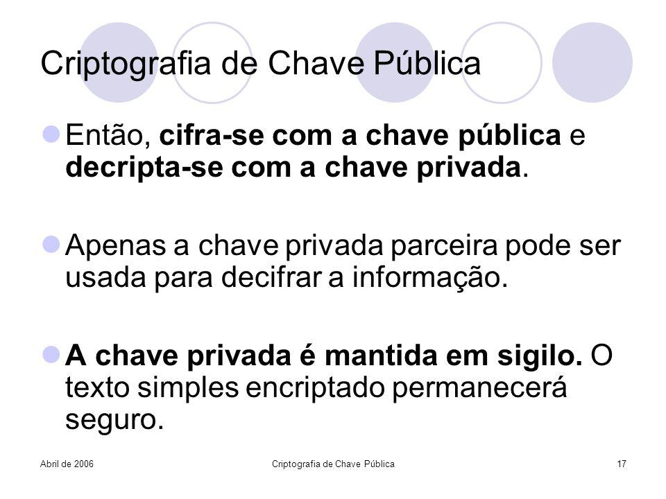 Abril de 2006Criptografia de Chave Pública17 Criptografia de Chave Pública Então, cifra-se com a chave pública e decripta-se com a chave privada. Apen
