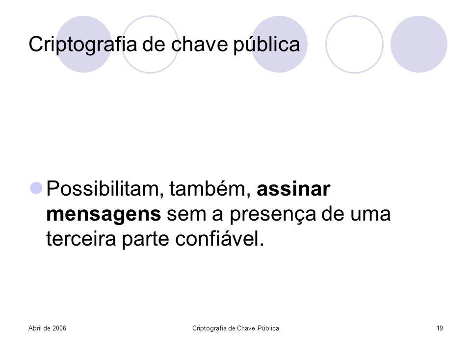 Abril de 2006Criptografia de Chave Pública19 Criptografia de chave pública Possibilitam, também, assinar mensagens sem a presença de uma terceira part
