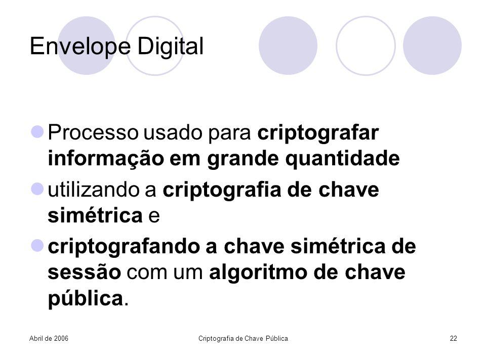 Abril de 2006Criptografia de Chave Pública22 Envelope Digital Processo usado para criptografar informação em grande quantidade utilizando a criptograf