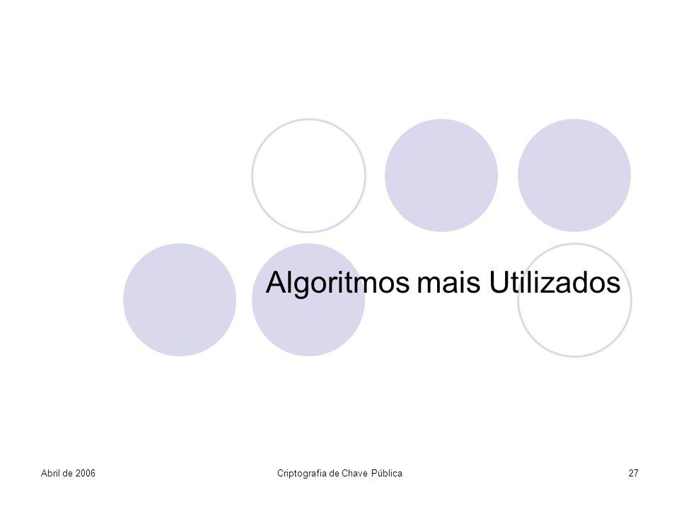 Algoritmos mais Utilizados Abril de 2006Criptografia de Chave Pública27