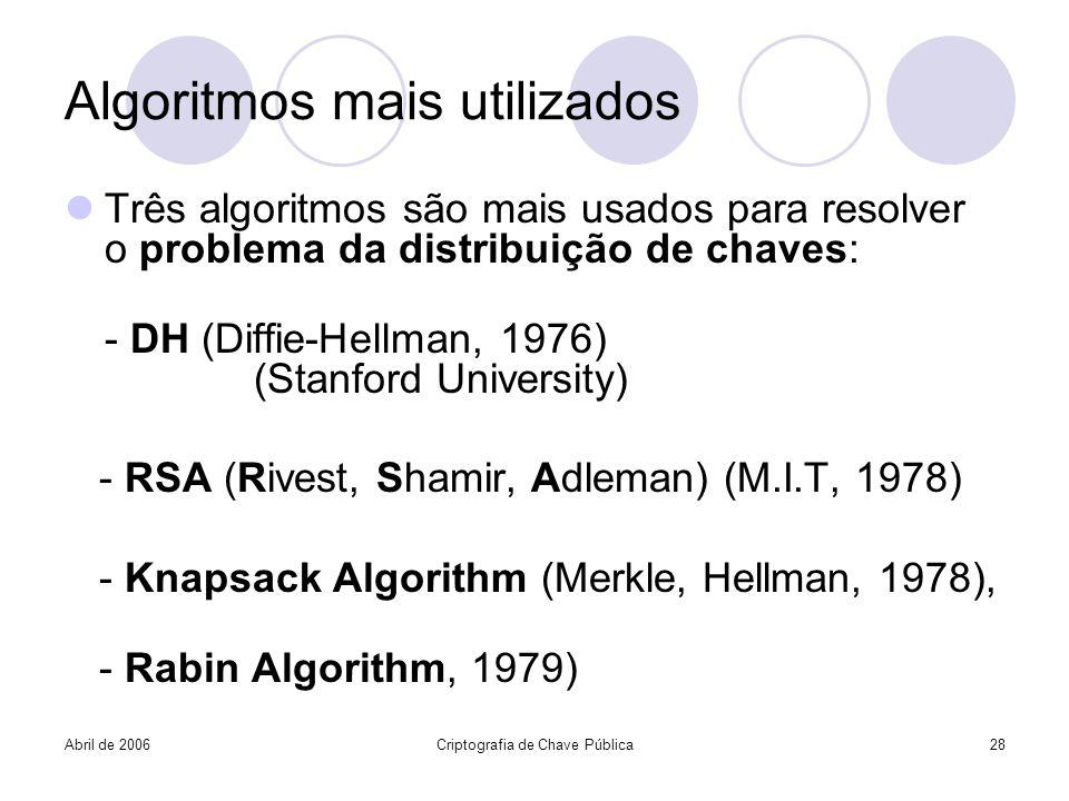 Abril de 2006Criptografia de Chave Pública28 Algoritmos mais utilizados Três algoritmos são mais usados para resolver o problema da distribuição de ch