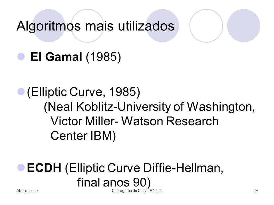 Algoritmos mais utilizados El Gamal (1985) (Elliptic Curve, 1985) (Neal Koblitz-University of Washington, Victor Miller- Watson Research Center IBM) E