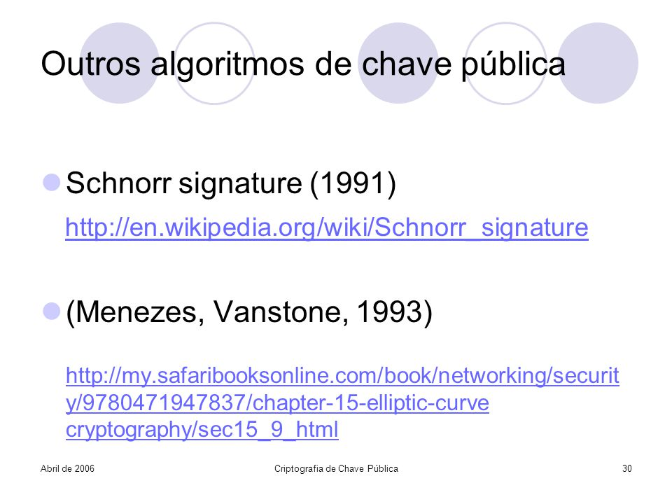 Abril de 2006Criptografia de Chave Pública30 Outros algoritmos de chave pública Schnorr signature (1991) http://en.wikipedia.org/wiki/Schnorr_signatur
