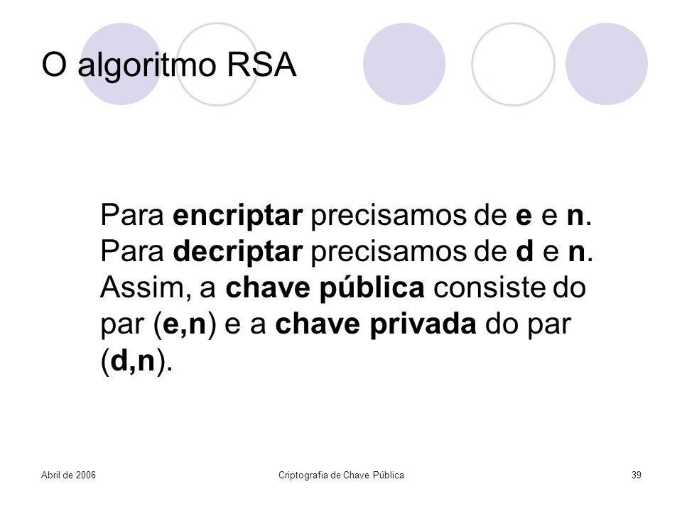 Abril de 2006Criptografia de Chave Pública39 O algoritmo RSA Para encriptar precisamos de e e n. Para decriptar precisamos de d e n. Assim, a chave pú