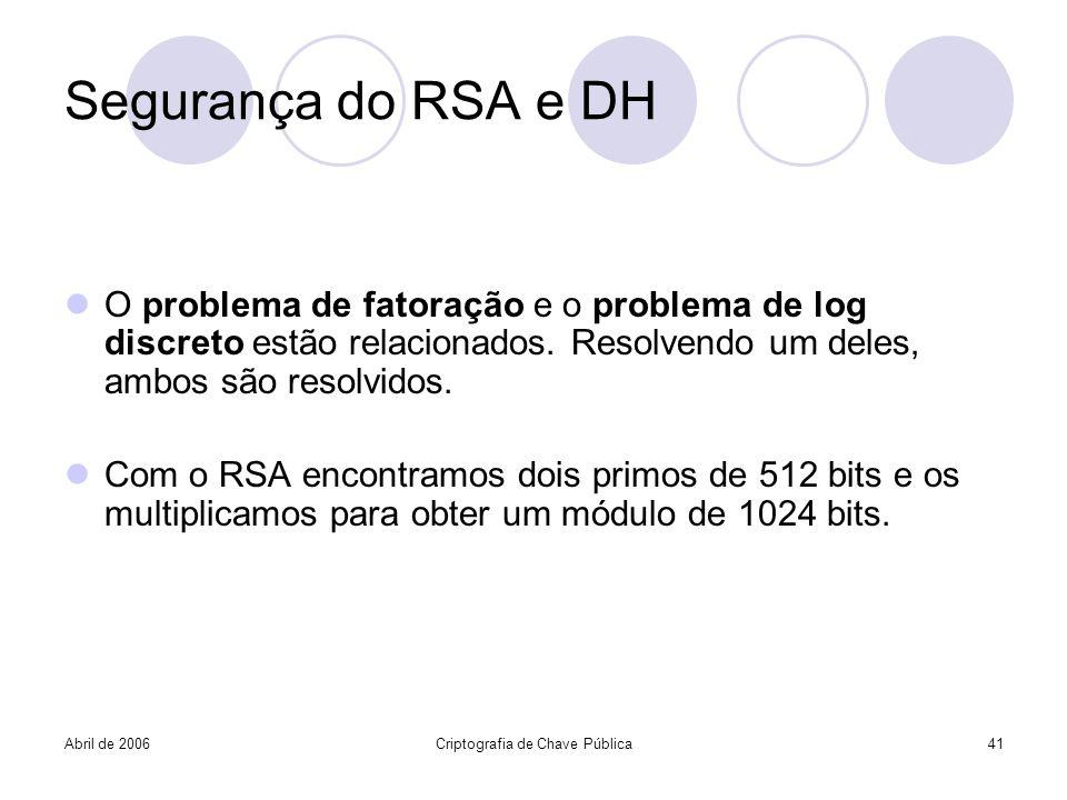 Abril de 2006Criptografia de Chave Pública41 Segurança do RSA e DH O problema de fatoração e o problema de log discreto estão relacionados. Resolvendo